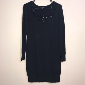 Ann Taylor Black Long Sleeve Sweater Dress Small
